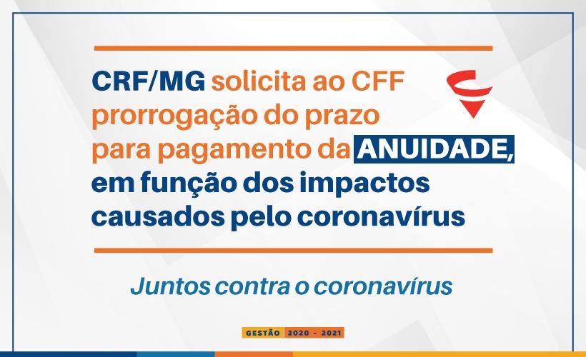CRF/MG pede ao CFF prorrogação para pagamento das anuidades